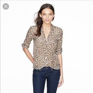 J. Crew Animal Print Perfect Shirt